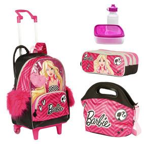 Kit Mochila Infantil Barbie 18z Lancheira Estojo Sestini