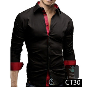19e2028e4d Camisa Vermelha Em Cetim Masculina Tamanho G - Camisa Social Manga ...