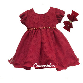 Vestido Bebê Festa Vermelho P Ao G Faixa De Brinde a992f87b1f749