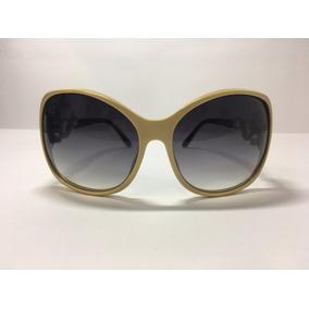 Óculos De Sol Feminino Bege E Detalhes Laterais - Via Lorran 98ec921b7b