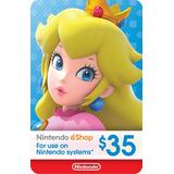 Tarjeta Prepago Nintendo Eshop $35 Switch / Wii U / 3ds