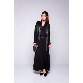 Vestido negro cuello mao