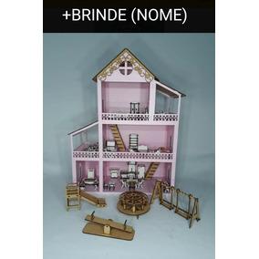 Casa Casinha De Boneca Polly / Lol Mdf +36 Móveis+ Parquinho