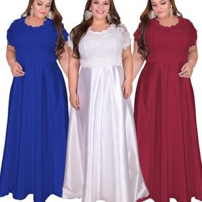 Vestido Festa Plus Size Longo Renda 46 A 60, Madrinha Plus