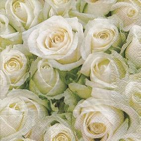 Guardanapo White Roses, 33x33 Cm - Paper Design