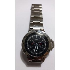 Relógio Masculino Aço Guess Mostrador Preto E Taquimetro