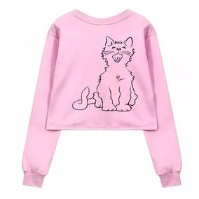 Blusa Moletom Cropped Cat Gato Kitty Rosa Moda Feminina c37bba26ba6a5