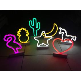 1 Luminária Led Neon Luz, Flamingo,coração, Unicórnio, Cacto