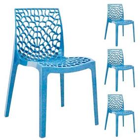 Kit Com 4 Cadeiras Gruvyer Azul Celeste