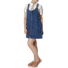 Vestido Salopete Jeans Feminino Azul