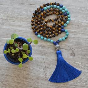 Japamala 108 Contas Olho De Tigre Lápis Lazuli Turquesa 8 Mm