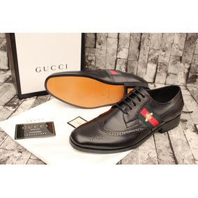 059539853e675 Zapatos Vestir Gucci Piel Negro Caballero Abeja Con Agujetas