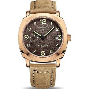 f0858961345 Relógio Megir 1046 Masculino Luxo Militar Prata Pulseira Cou · R  198 79. 12x  R  16 sem juros