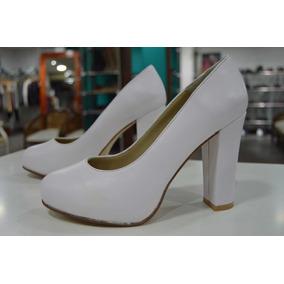 Zapatos De Mujer Cerrados Y Altos Con Taco Grueso - Zapatos Blanco ... 8fd9a75380e