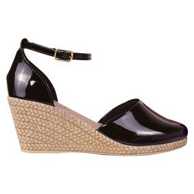 Sandalia Sapato Feminina Anabela Salto Alto Tratorada Snp