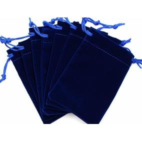 100 Bolsas De Terciopelo Azul Para Joyas