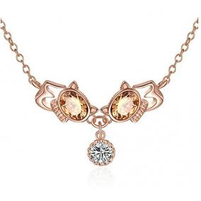 Collar Con Cristales, Amor De Cristal Ac16-728-oro Rosa