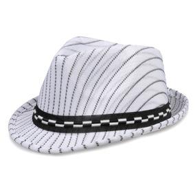Chapéu Fedora Aba Curta Infantil Branco Risca De Giz e435893534f