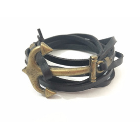 77535dff743 Pulseira Bracelete Âncora De Couro Unisex - Preta