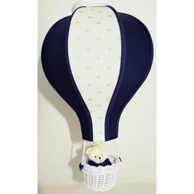 Lustre Quarto Bebê Balão Acinturado Decoração Azul Marinho
