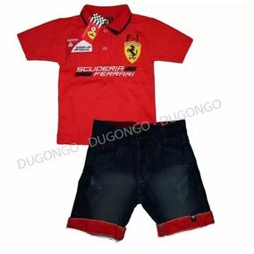 Conjunto Ferrari Polo Infantil C  Bermuda Jeans Festa 8d9e933676d30