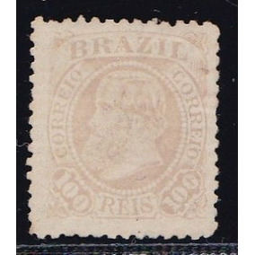 Selo - Império - D Pedro 100 Réis - Rhm 58 Fundo Cruzado 01