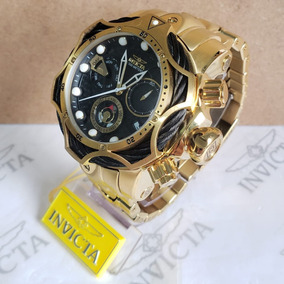 Relógio Invicta Reserve Venom Dourado Com Preto Completo!