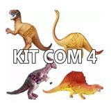 Kit Com 4 Dinossauros Borracha Tamanho Grande