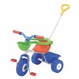Triciclo Rondi Blue Metal Azul Con Barra Arrastre Mundomania