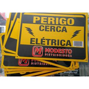 Kit C/ 5 Placas De Cerca Elétrica De Metal Modesto