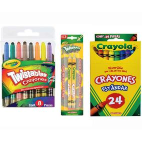 Kit Paquete 8 Crayones Twistables+ 2 Lapices + 24 Crayolas