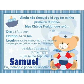 100 Convite Cha De Fraldas Convites De Chá De Bebê No Mercado