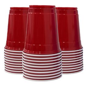 100 Copos Vermelho Americano Redcup Importado Original 500ml