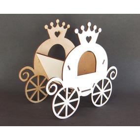 15pçs Lembrança Cachepô Carruagem 18cm Mdf Branco Princesas
