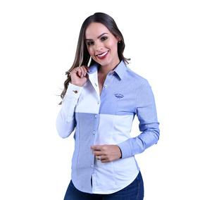 Camisa Porto Blanco Dama Blusa Blanca De Bloques D-659