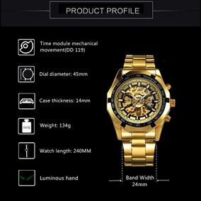 Relógio Mecanico Aço Inox Dourado Masculino Fashion