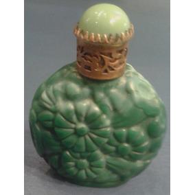 Antiguo Perfumero Cristal Verde Jade Oriental Floral Checo