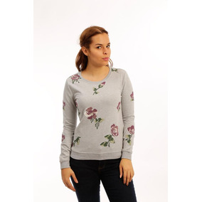 Sweater Color Gris Claro Con Print Flor