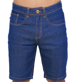 Bermuda Jeans Masculina Escura Skinny Azul Bic Royal Lycra