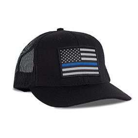 Hoo-rag Thin Blue Line Sombrero Flexfit De La Bandera Americ b7dc0f44eb0