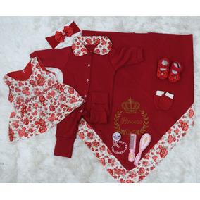 Kit Saída De Maternidade Para Bebê Menina Vermelha Luxo