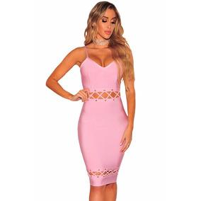 Vestido Rosa Tela Tipo Faja Bandage Antro Fiesta Coctel