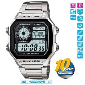 Relogio Casio Ae1200whd Prata 5 Alarm Crono Luz Hora Mundial