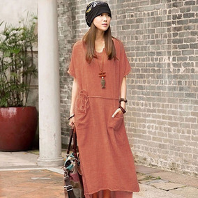 Oversize Vestido Casual Mujer Suelto De Algodón Lino Sólido