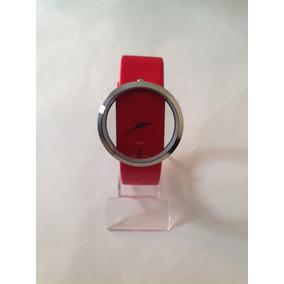 Relógio Feminino Transparente Vermelho