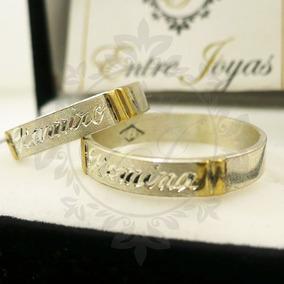 5026f3ede4483 Alianzas Plata 925 Y Oro Anillos Cinta Plana Compromiso 4mm