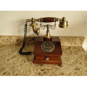Telefone Retro De Mesa Vintage Gaveta Madeira-1001 Coisas1