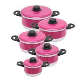 Jogo 5 Panela Pink Rosa Alumínio Batido Goias Ana Maria Brag