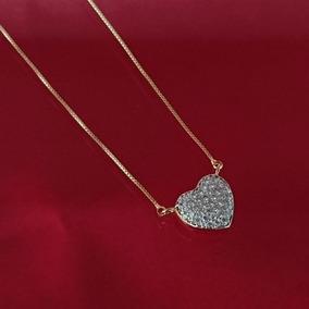 Colar Feminino Namorado Coração Brilhante Banhado Ouro 18k