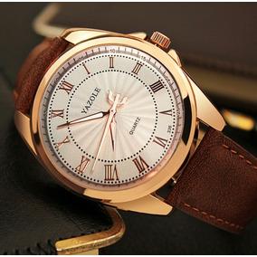 Relógio Yazole Dourado Pulseira Couro Social Luxo Elegante
